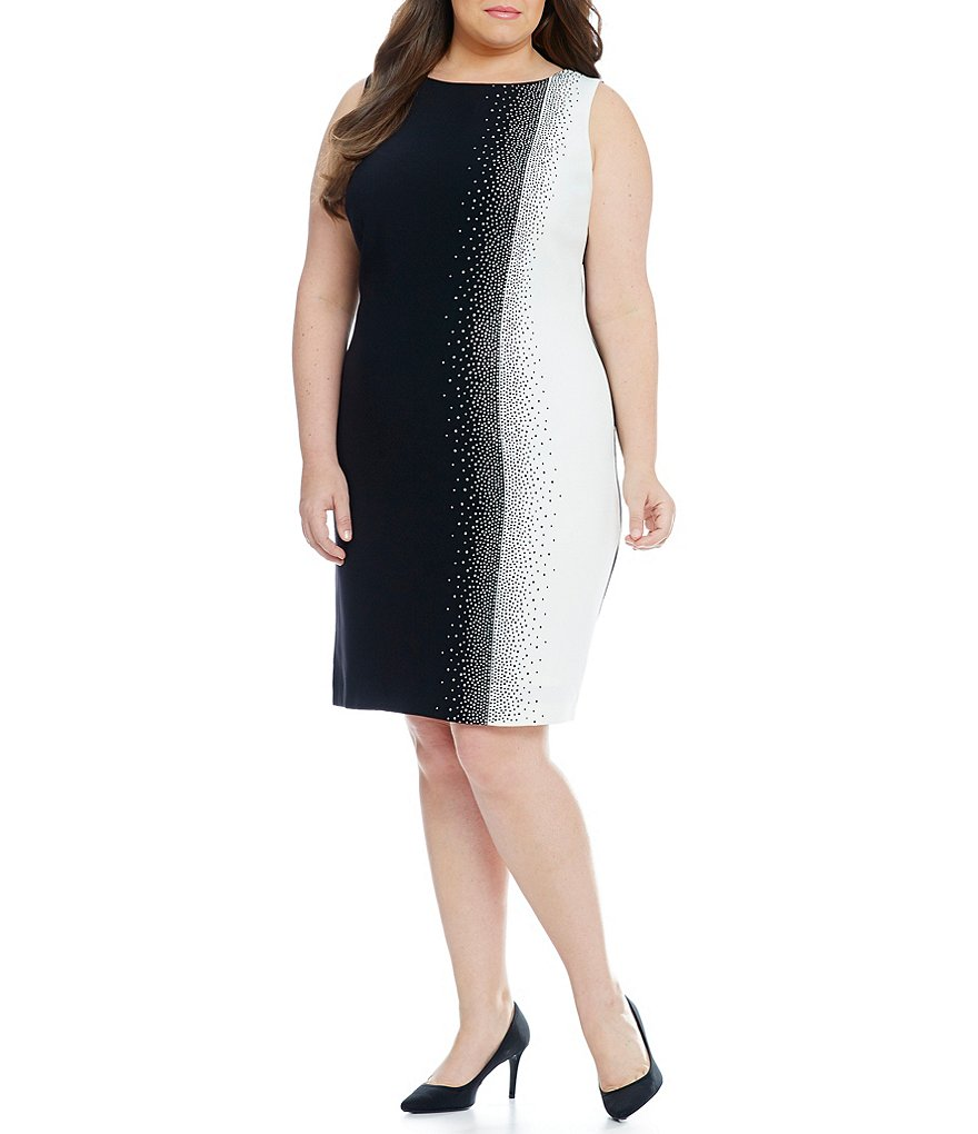 Calvin Klein Plus Colorblock Jeweled Sheath Dress