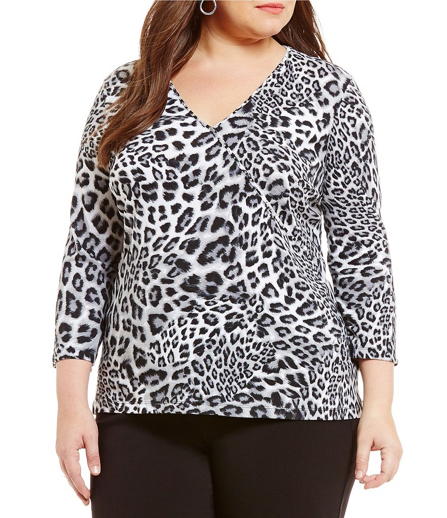 Ruby Rd. Plus Embellished Mixed Spots Print Knit Top