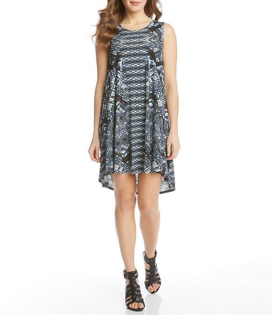 Karen Kane Maggie Hi-Low Printed Trapeze Dress