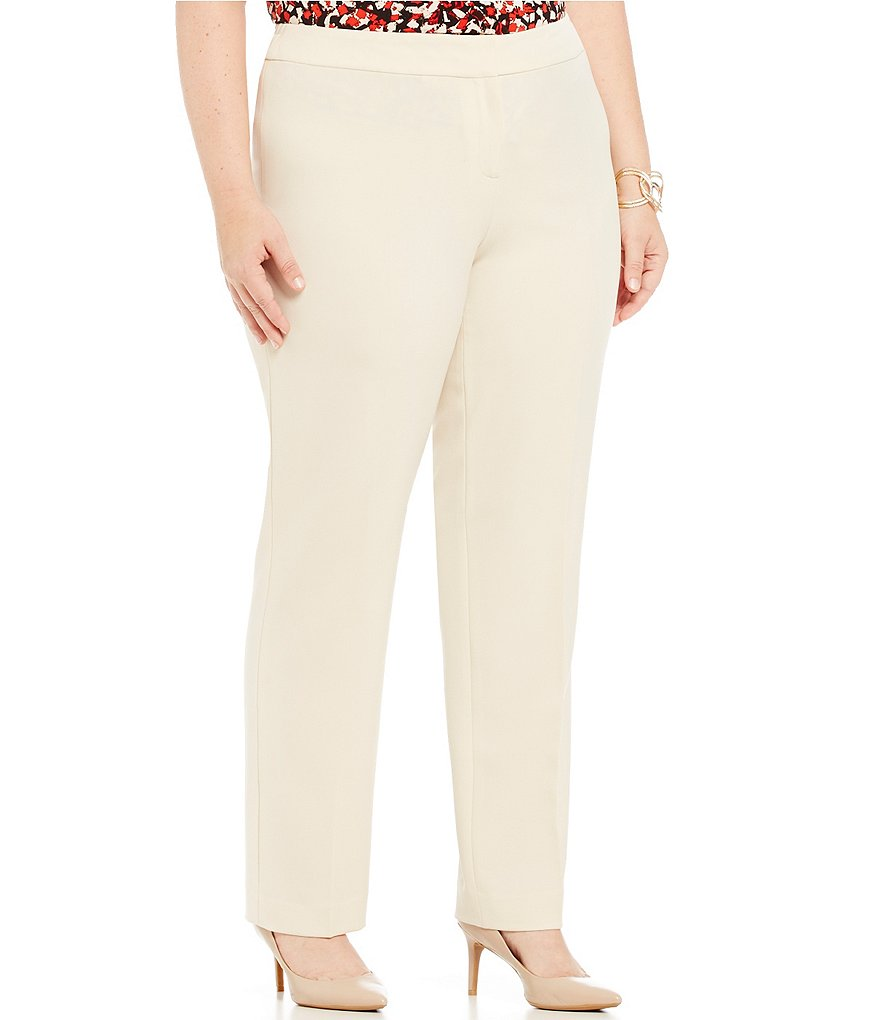 Kasper Plus Stretch Crepe Slim Pant