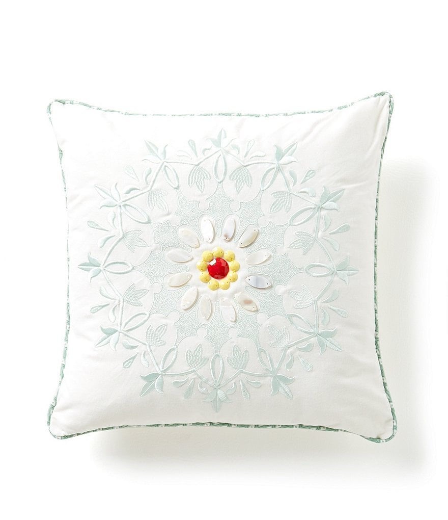 Echo Jaipur Floral Embroidered Square Pillow