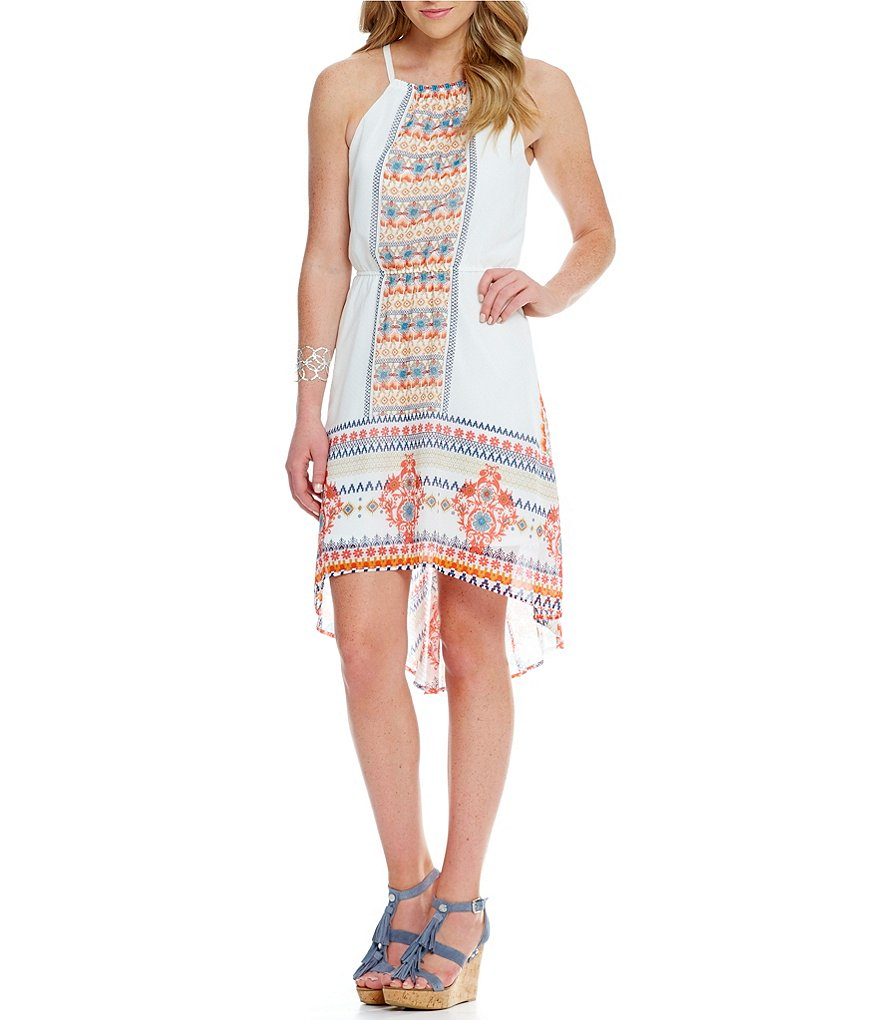 As U Wish Placement-Print High-Low Hem Dress