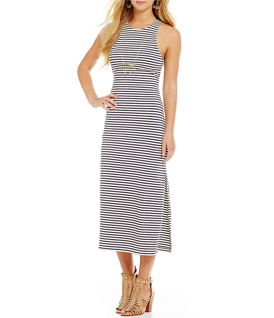Roxy Ano Nuevo Striped Knit Midi Dress