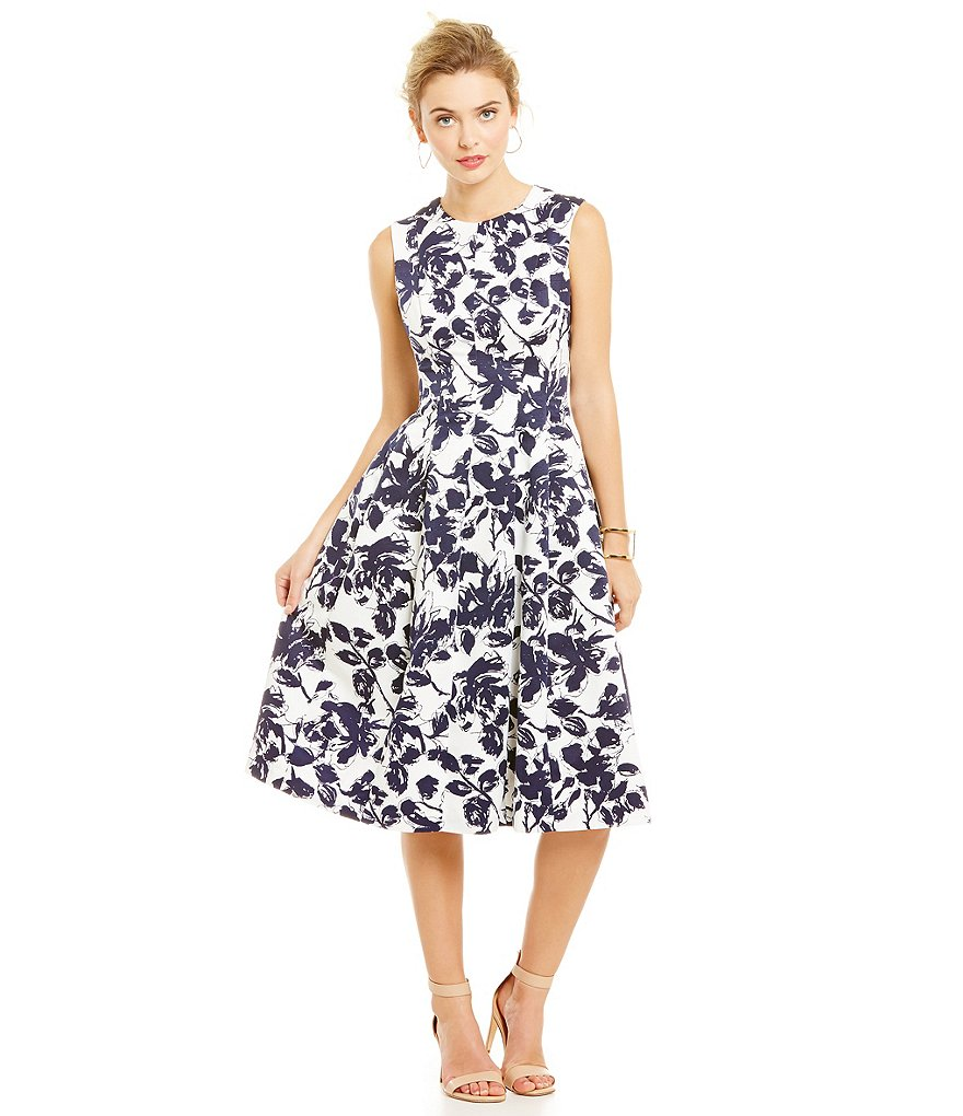 Eliza J Floral Midi Fit and Flare Dress