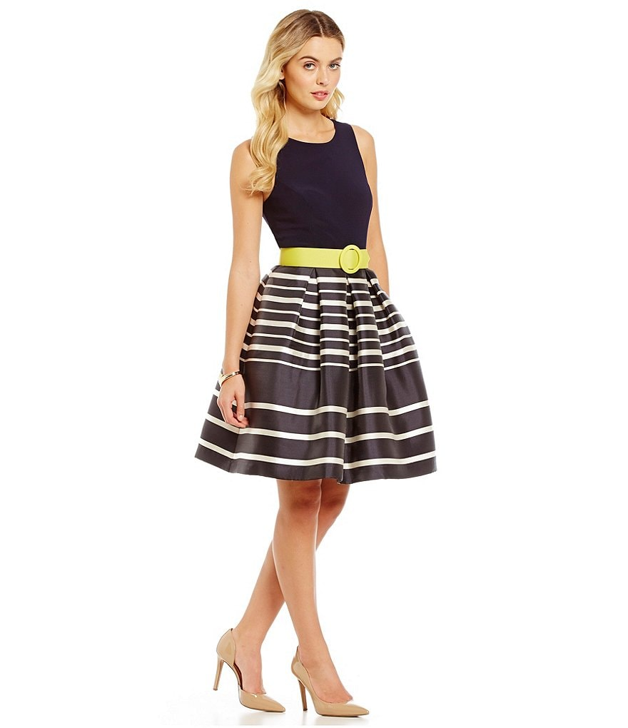 Eliza J Belted Stripe Fit-and-Flare Party Dress