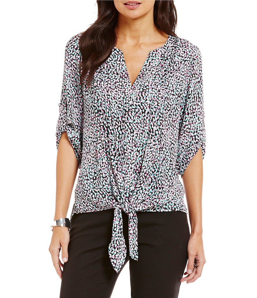 Chaus Island Blast Print Tie Front Pintuck Blouse