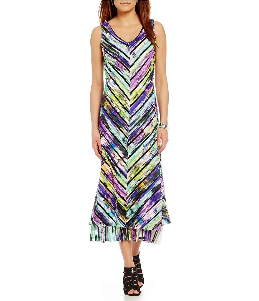 IC Collection Rainbow Fringe Hem Dress