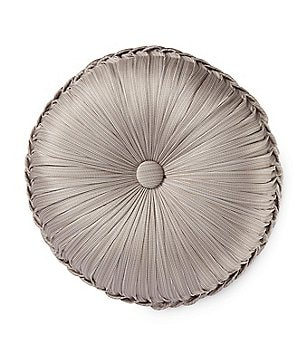 J. Queen New York Babylon Button-Tufted Satin Round Pillow