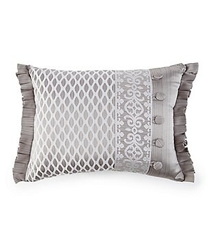 J. Queen New York Babylon Pleated Damask & Diamond Faux-Buttoned Satin Boudoir Pillow