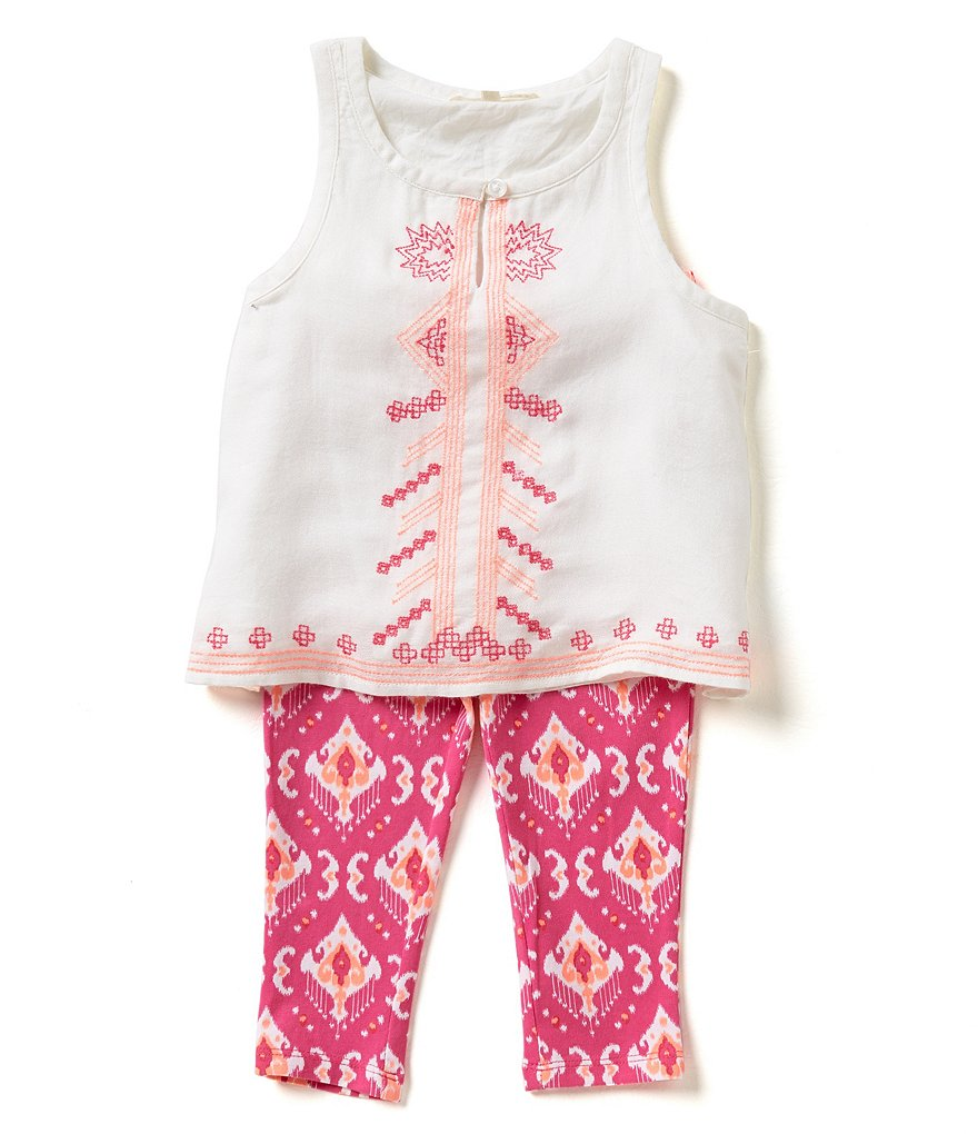Copper Key Little Girls 2T-6X Embroidered Top & Legging Capri Set