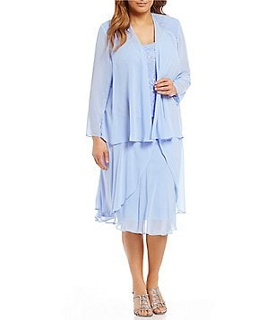 S.L. Fashions Plus Lace Chiffon Jacket Dress