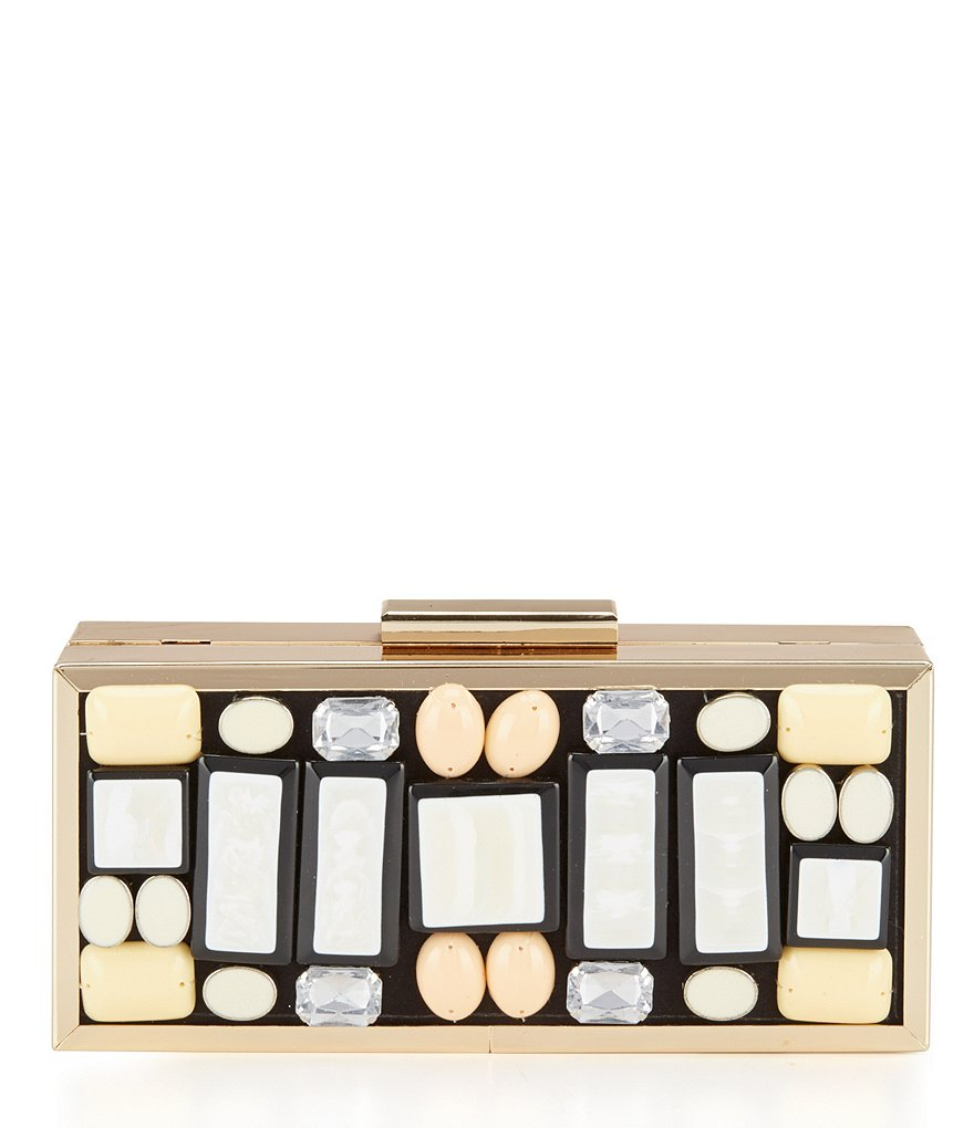 Kate Landry Pearlized Stone Frame Clutch