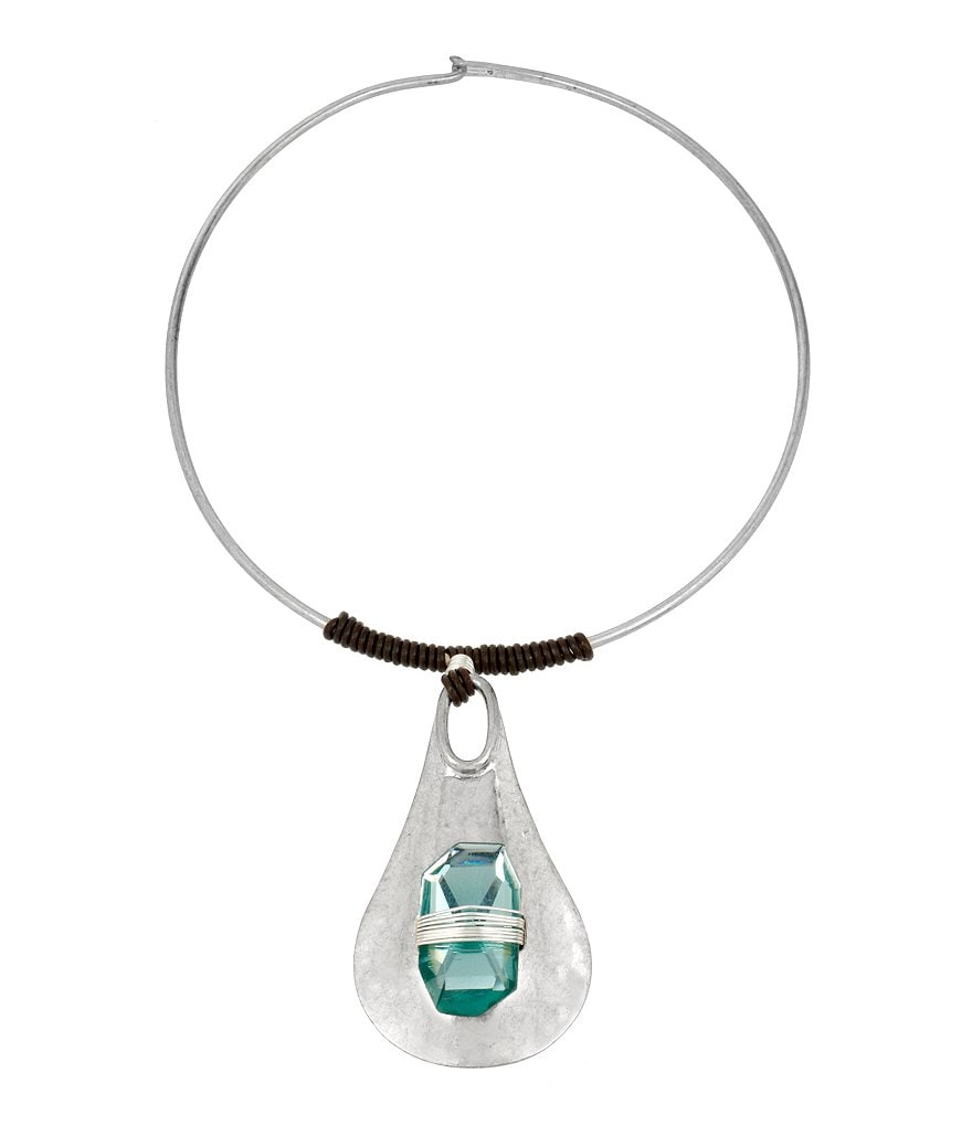 Robert Lee Morris Soho Wire-Wrapped Stone Pendant Choker Necklace