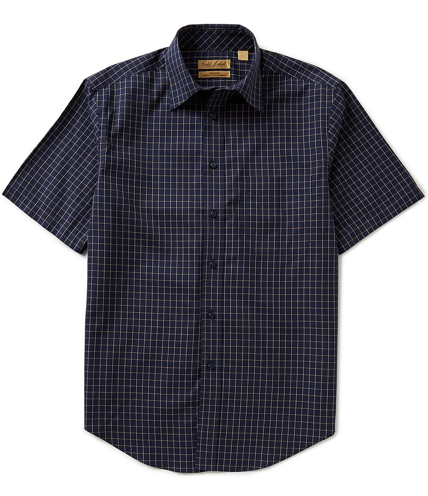 Gold Label Roundtree & Yorke Short-Sleeve Non-Iron Window Pane Sportshirt