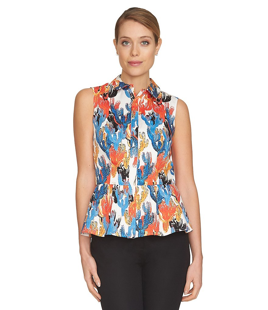 CeCe Cactus Sketches Sleeveless Button-Front Blouse