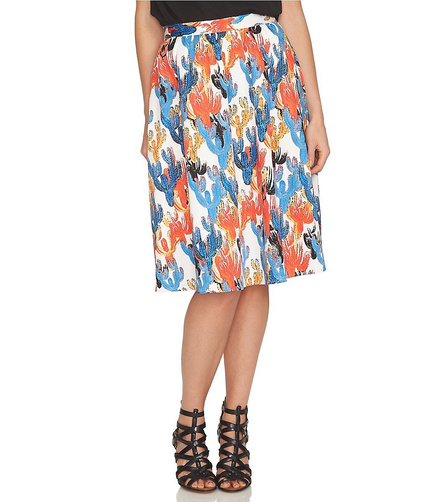 CeCe Cactus Sketches Full A-Line Mid-Length Skirt