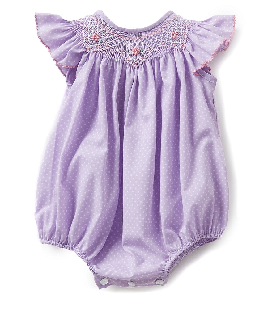 Edgehill Collection Baby Girls 3-9 Months Smocked Bubble Shortall