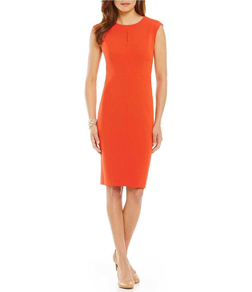 Kasper Keyhole Stretch Crepe Sheath Dress