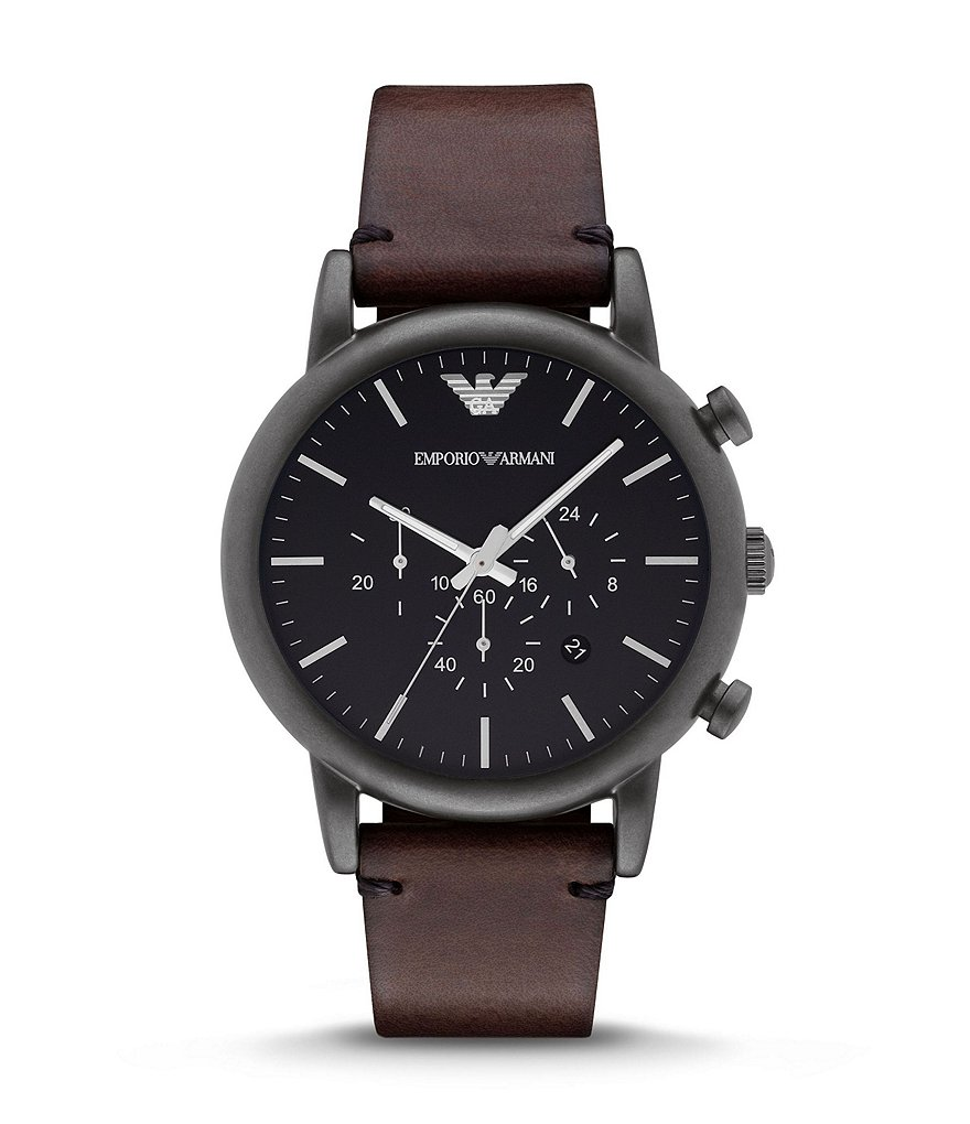 Emporio Armani Leather Strap Stainless Steel Chronograph Watch