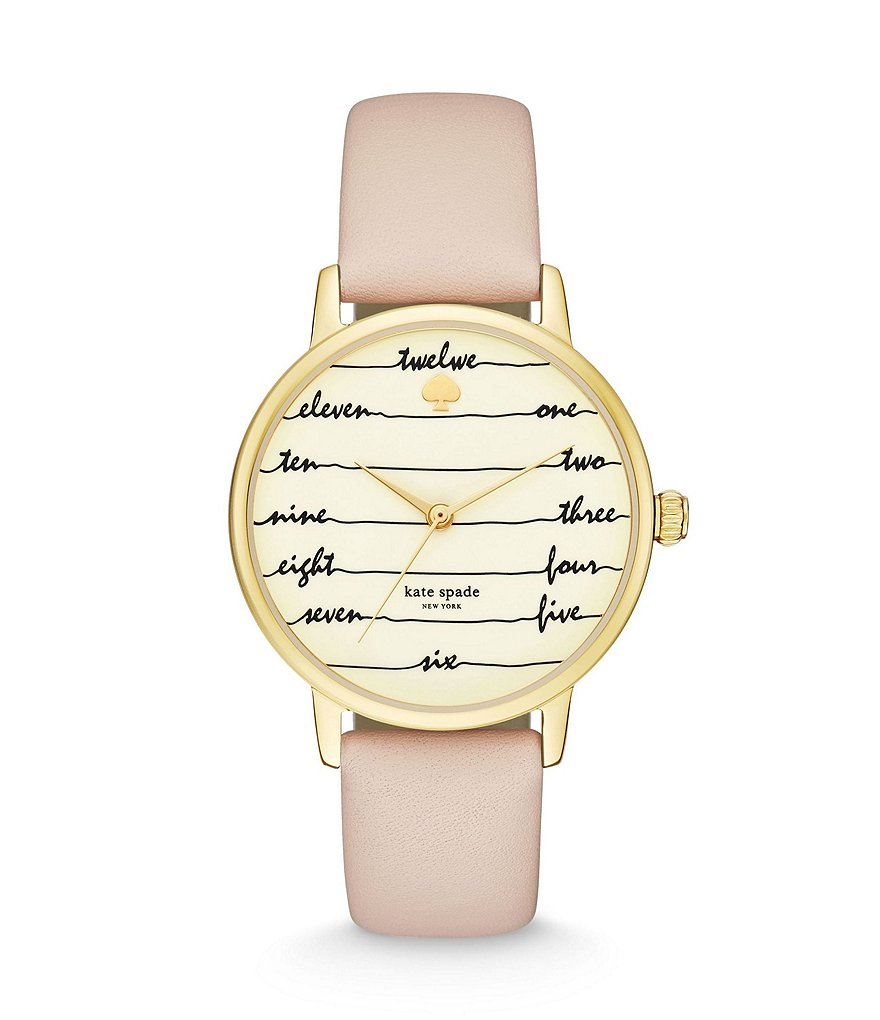 kate spade new york Metro Three-Hand Vachetta Leather Strap Watch