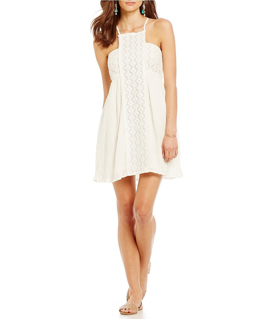O´Neill Shelby Solid Gauze Crocheted Strappy Chemise Dress