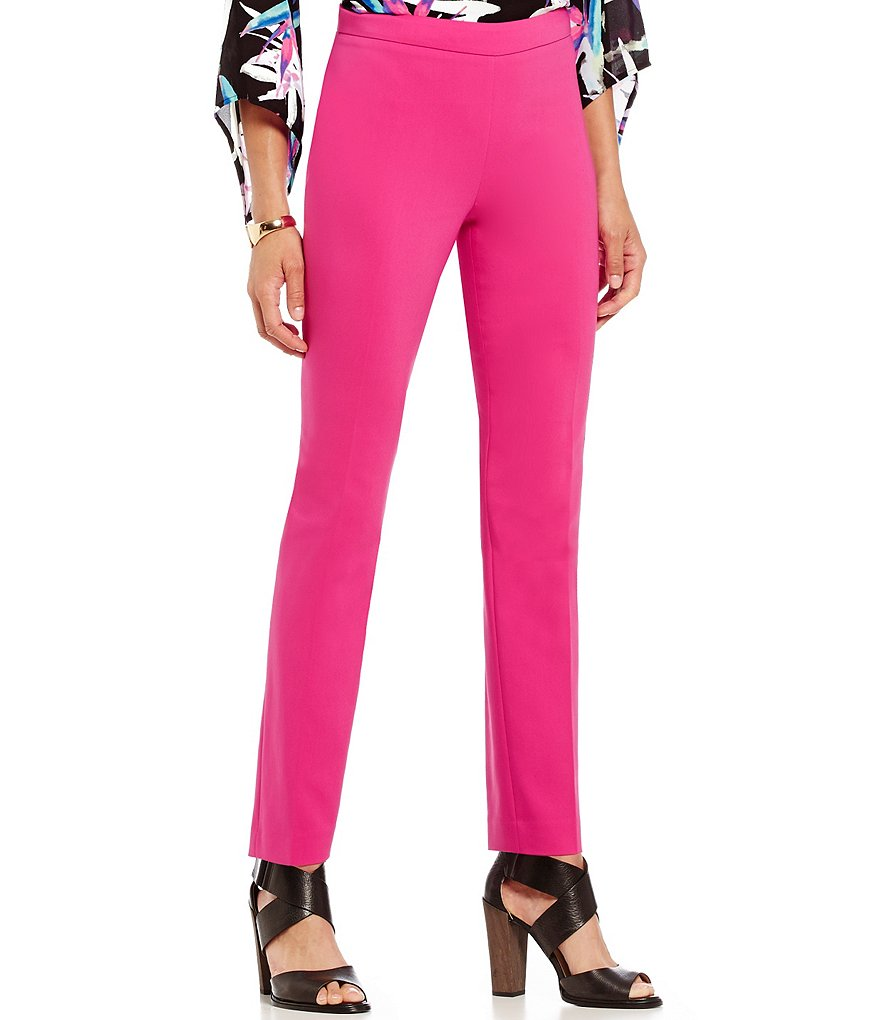 Chaus Courtney Side Zip Solid Straight Leg Pant