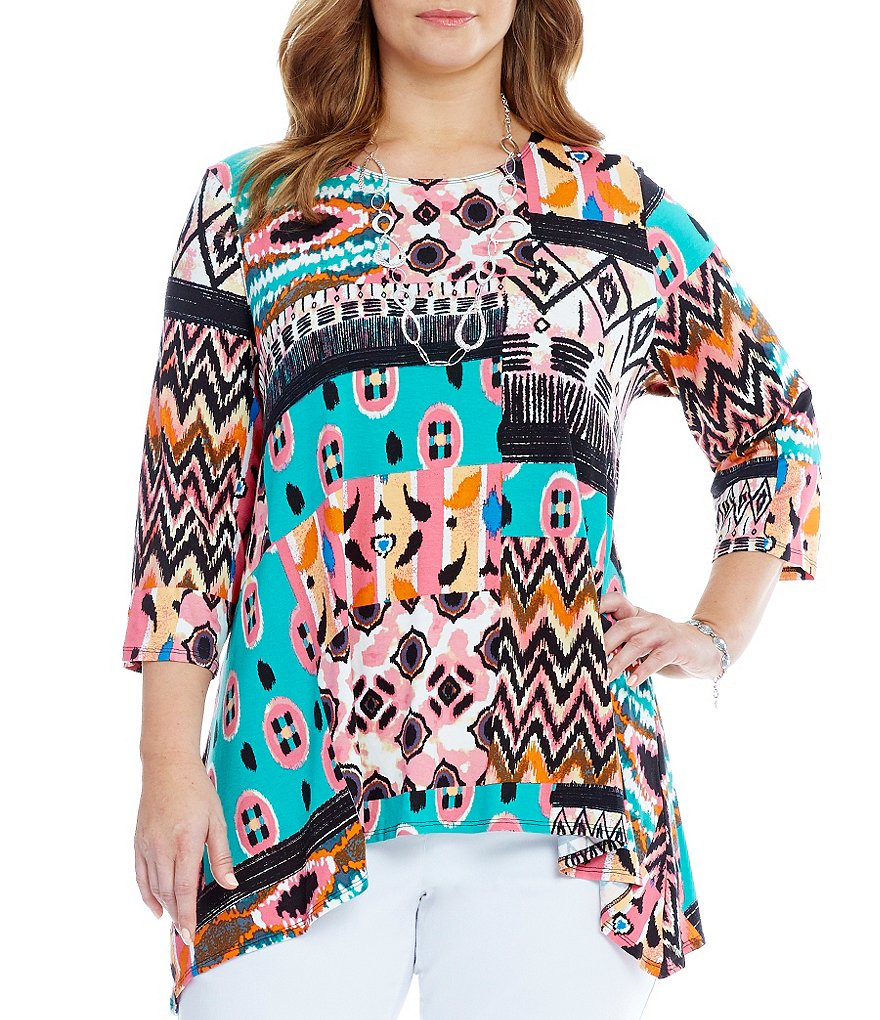 Multiples Plus 3/4 Sleeve Hi-Lo Printed Tunic