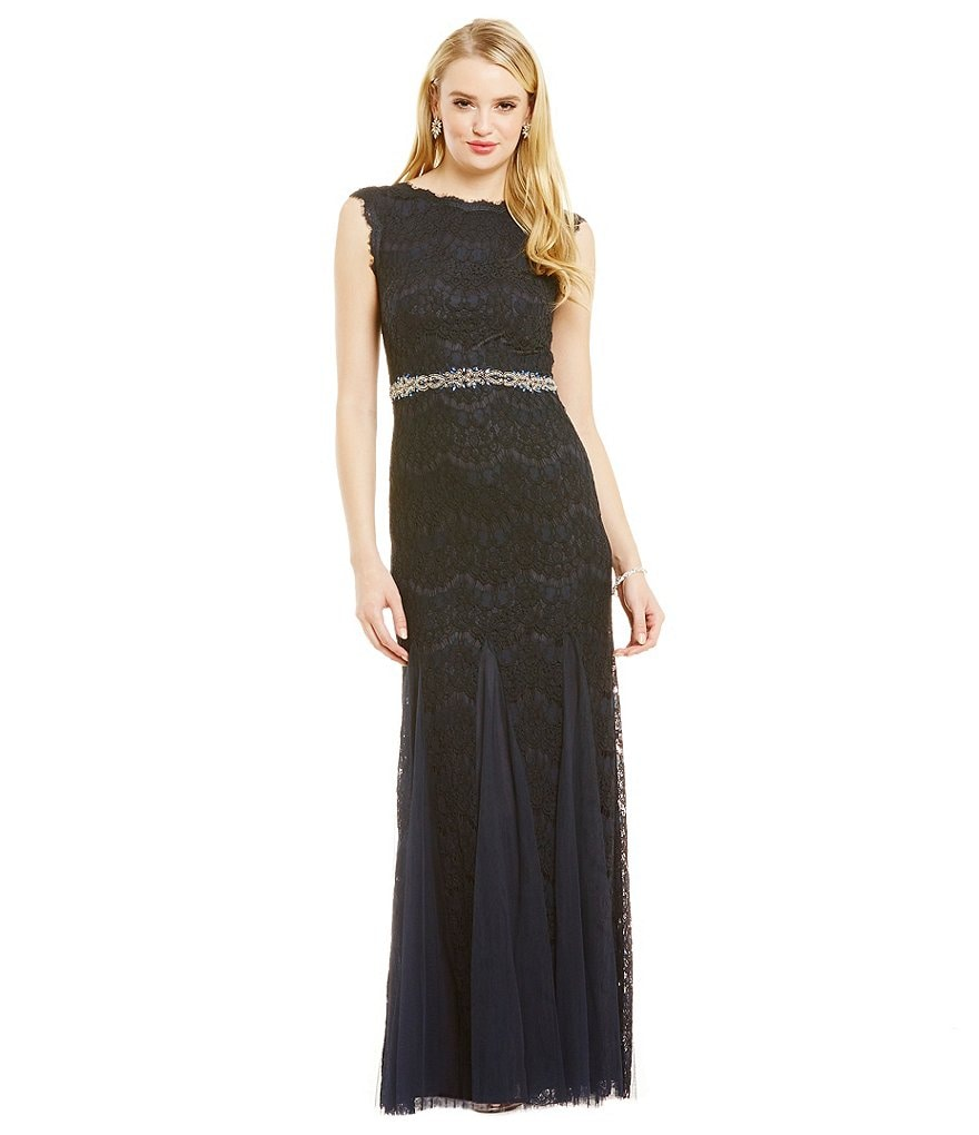 Betsy and Adam Scoop Back Scalloped Lace Gown