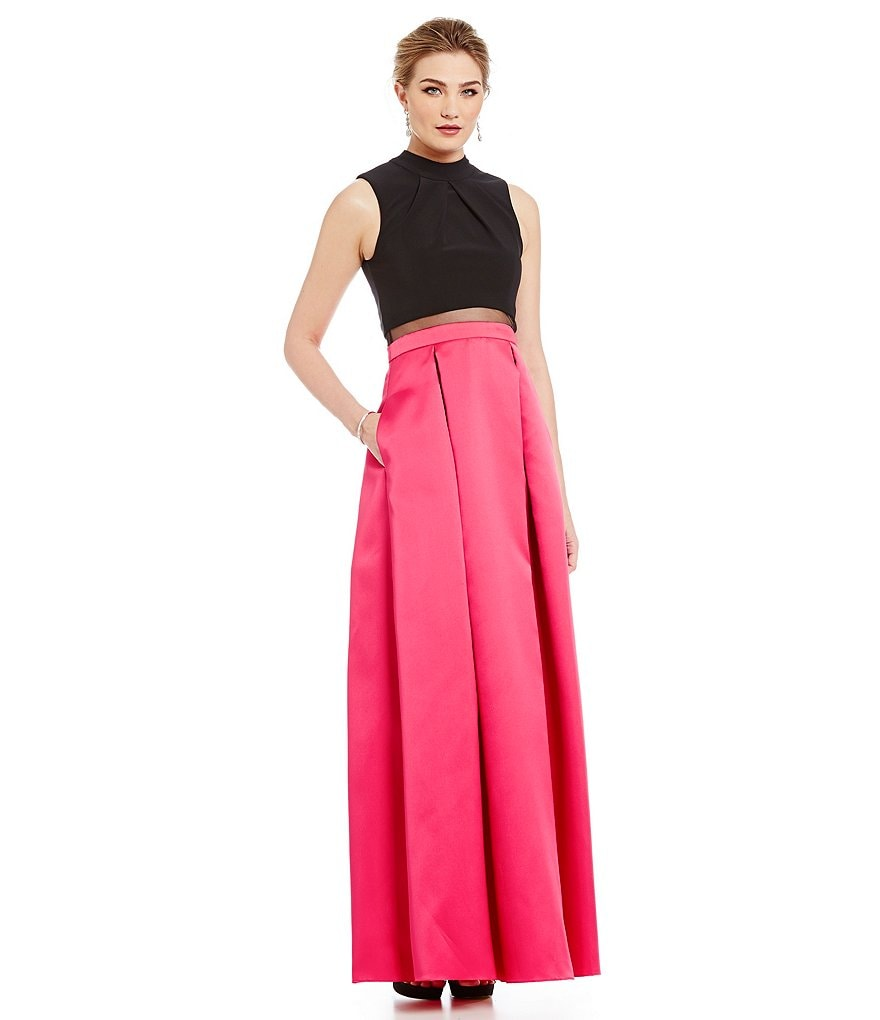 Betsy and Adam Two-Tone Mock Two-Piece Gown
