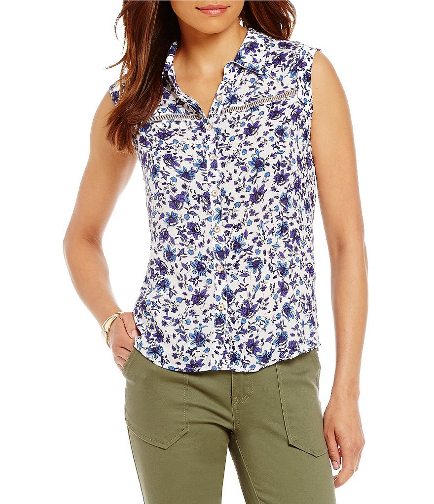 Democracy Cuffed Extended Sleeve Printed Button Front Top