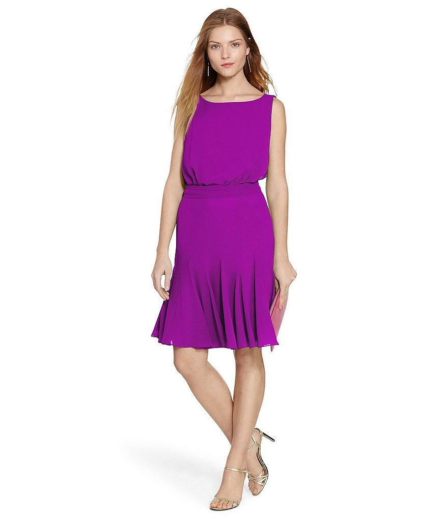 Lauren Ralph Lauren Georgette Fit-and-Flare Dress