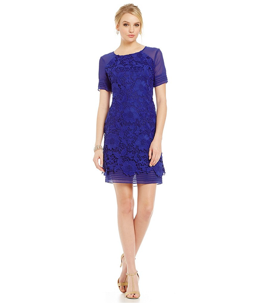 S.L. Fashions Lace Chiffon Shift Dress