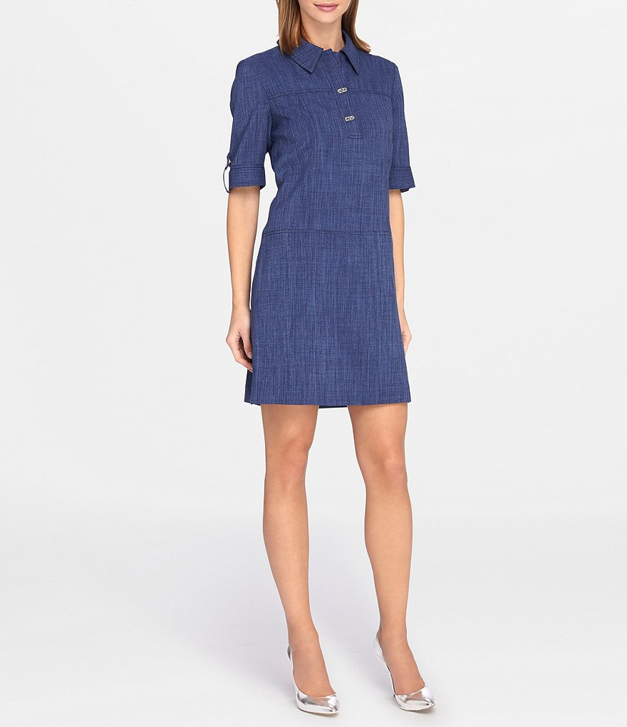 Tahari ASL Petite Short-Sleeve Denim Shirt Dress