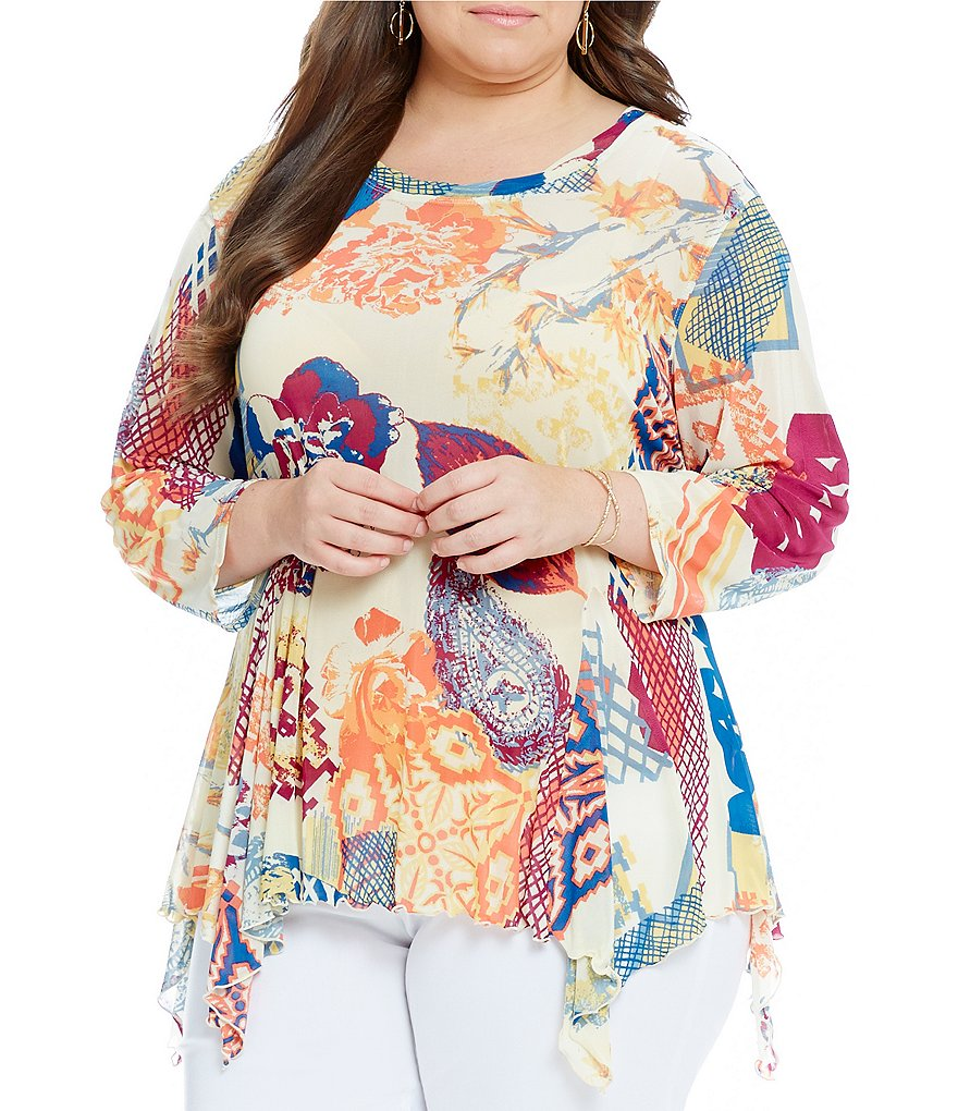 Multiples Plus 3/4 Sleeve Printed Mesh Multi-Godet Tunic