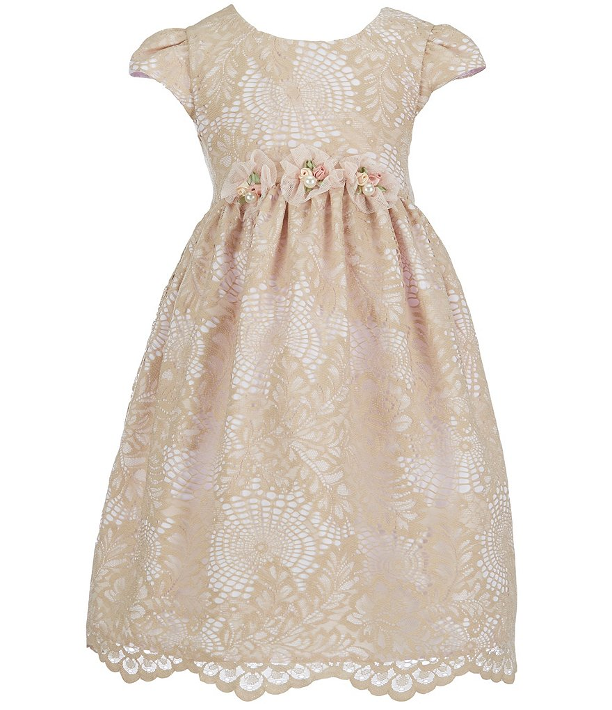 Laura Ashley London Little Girls 2T-6X Jewel Waist Accented Lace Dress