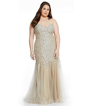 Glamour by Terani Couture Plus Sweetheart Beaded Trumpet Gown