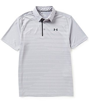 Under Armour Golf Short-Sleeve Coolswitch Textured Horizontal Stripe Jacquard Polo Shirt