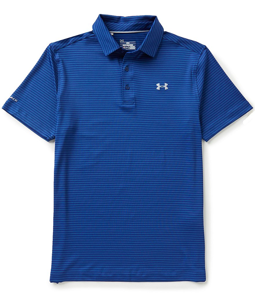Under Armour Golf Coldblack Tee Time Horizontal Stripe Polo Shirt