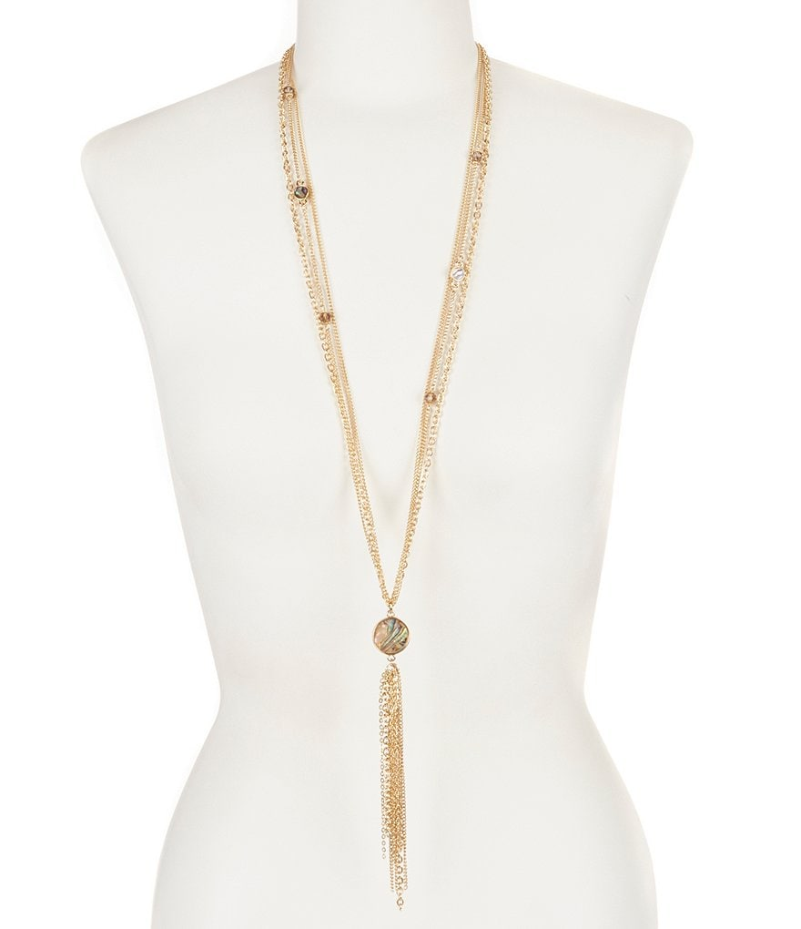 Natasha Accessories Multi-Row Tassel Necklace