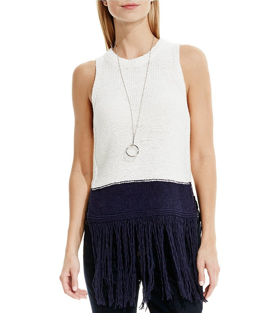 Two By Vince Camuto Long Fringed Sweater Tank