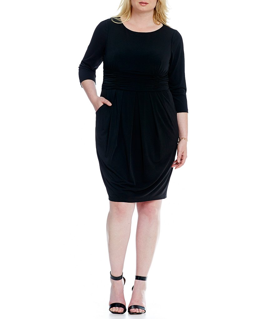 Jessica Howard Plus 3/4 Sleeve Ruched Waist Dress