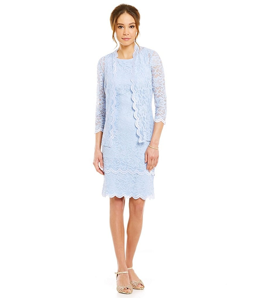 Alex Evenings Petite Scalloped Lace Jacket Dress
