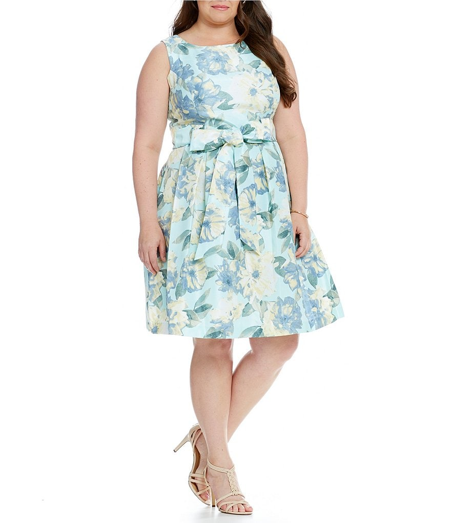 Jessica Howard Plus Floral Belted Dress