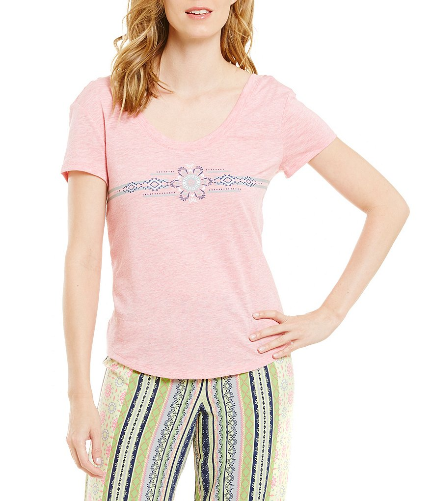 Jasmine & Ginger Screen Print Motif Jersey Sleep Top