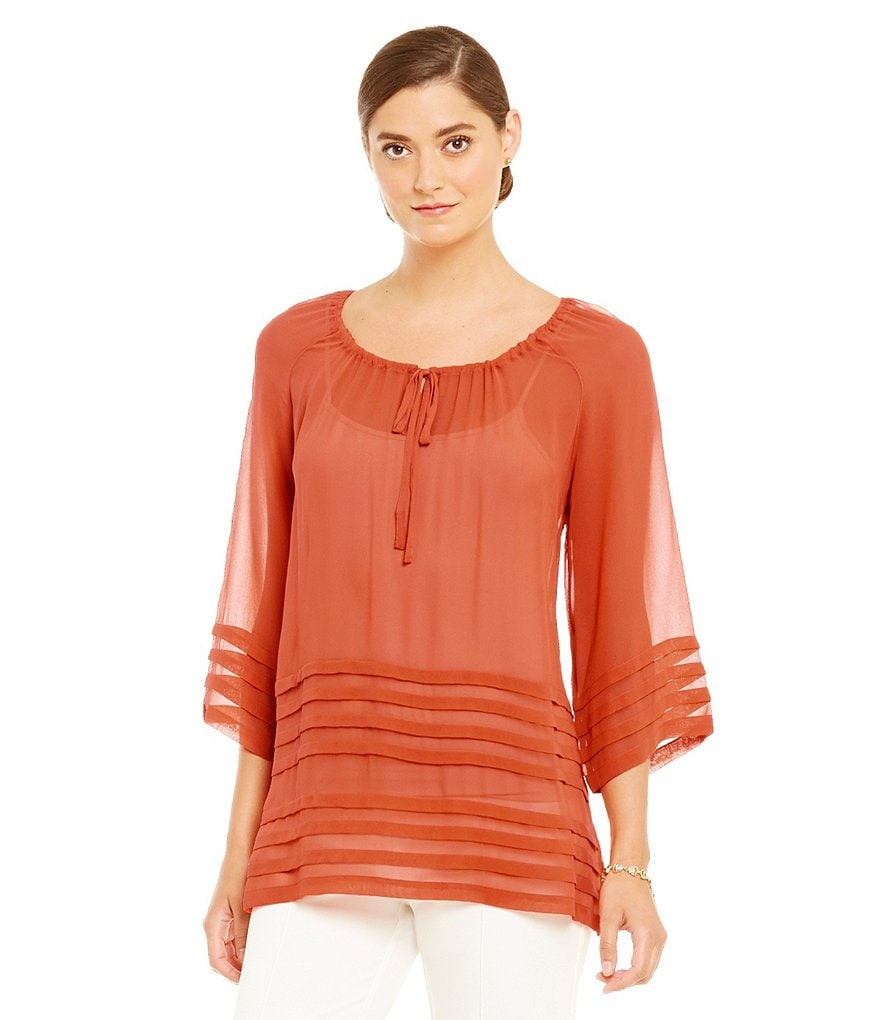 John Mark 3/4 Sleeve Silk Peasant Top