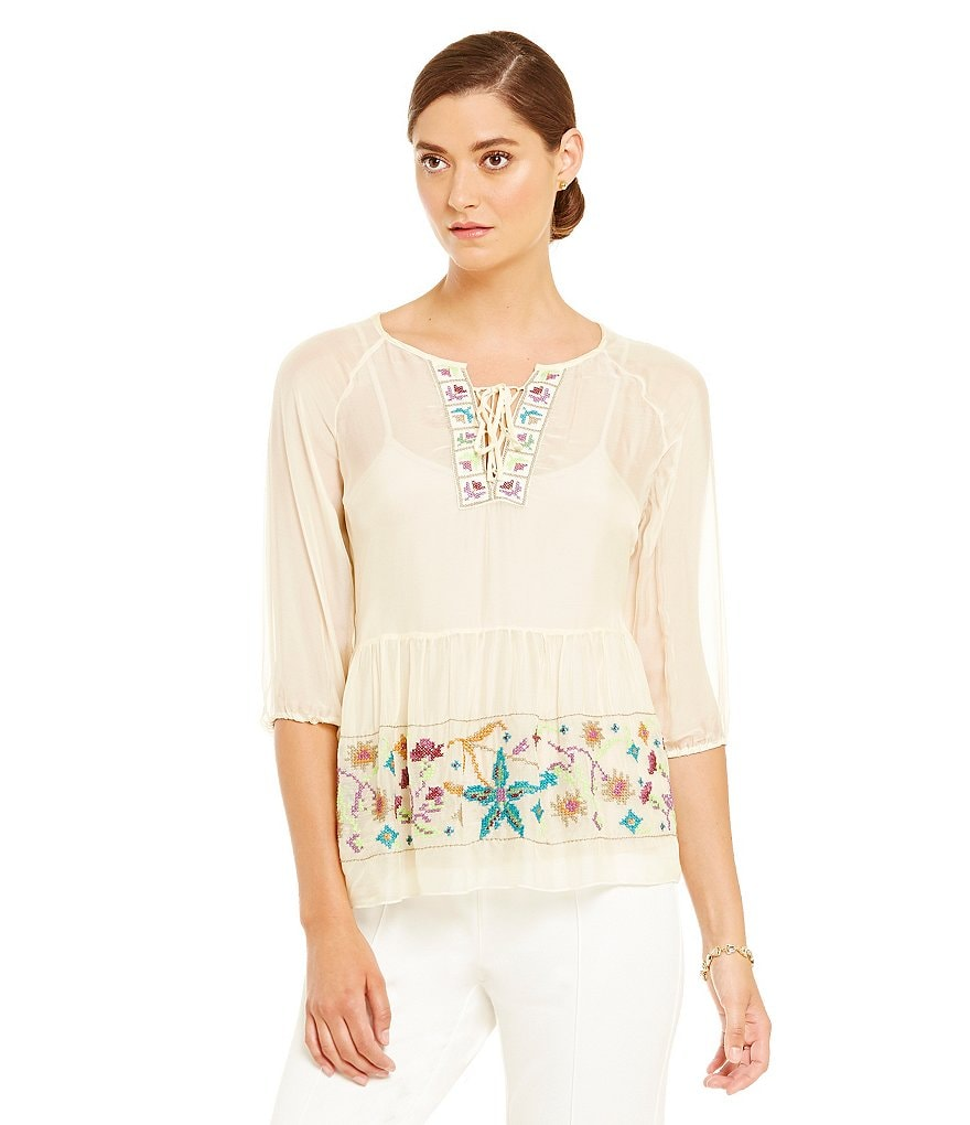 John Mark Embroidered 3/4 Sleeve Scoop Neck with Tie Peasant Blouse
