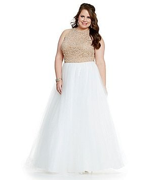 Glamour by Terani Couture Plus Beaded Bodice Ballgown