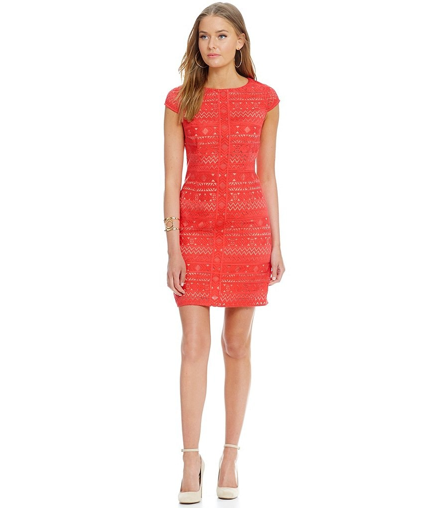 Laundry By Shelli Segal Embroidered Lace Detail Dress