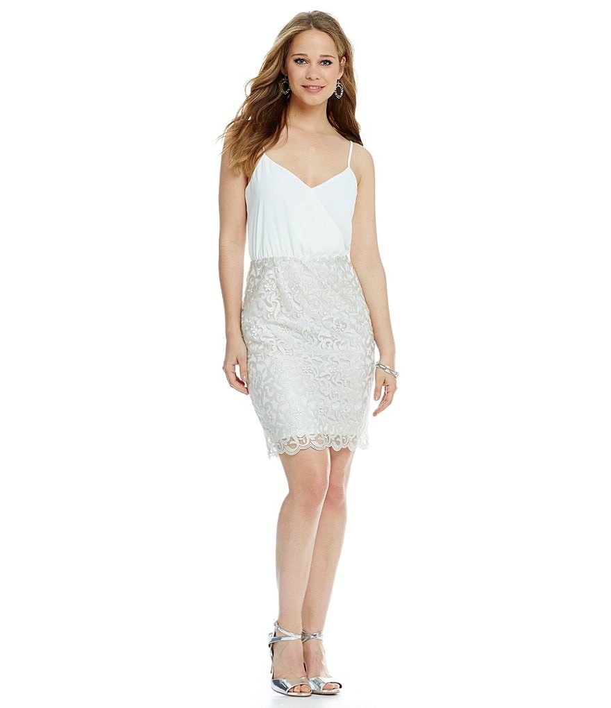 Laundry By Shelli Segal Drape Neck Lace Dress
