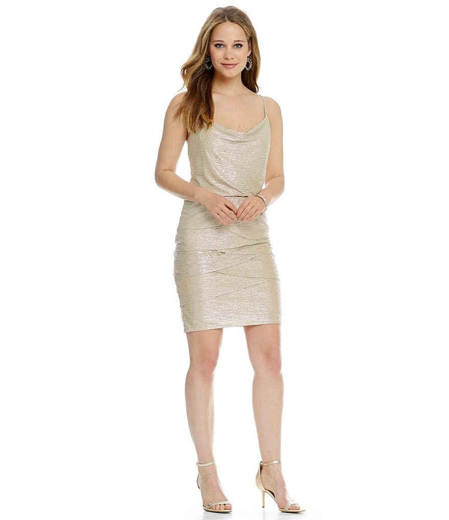 Laundry By Shelli Segal Metallic Draped Blouson Dress